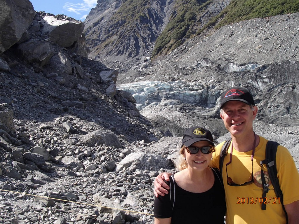 Hiking to the glacier in New Zealand