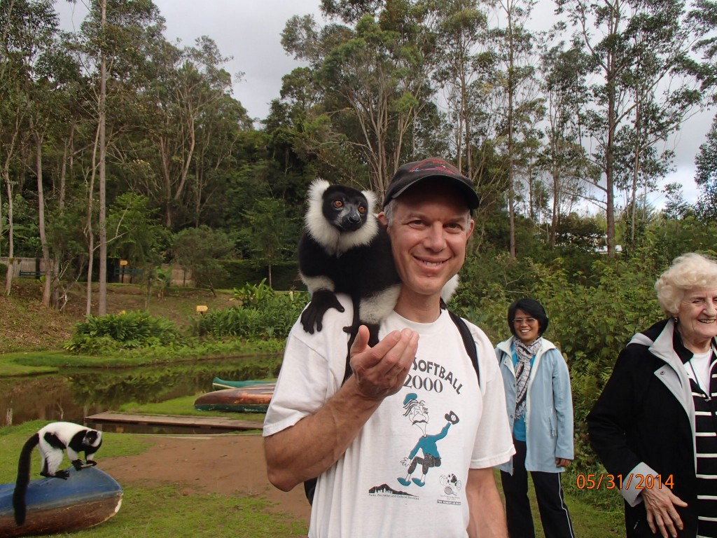 This black and white ruffed lemur was my buddy as long as I had some banana