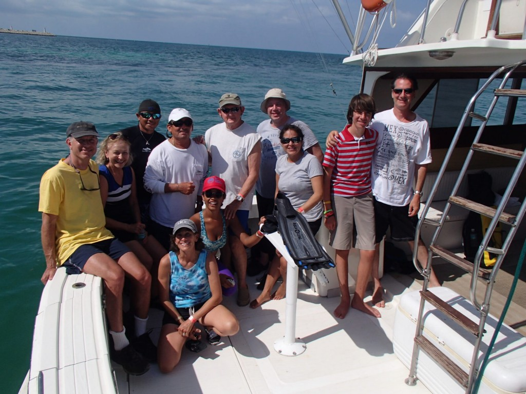 Captain, crew, film makers and friends on the whale shark charter