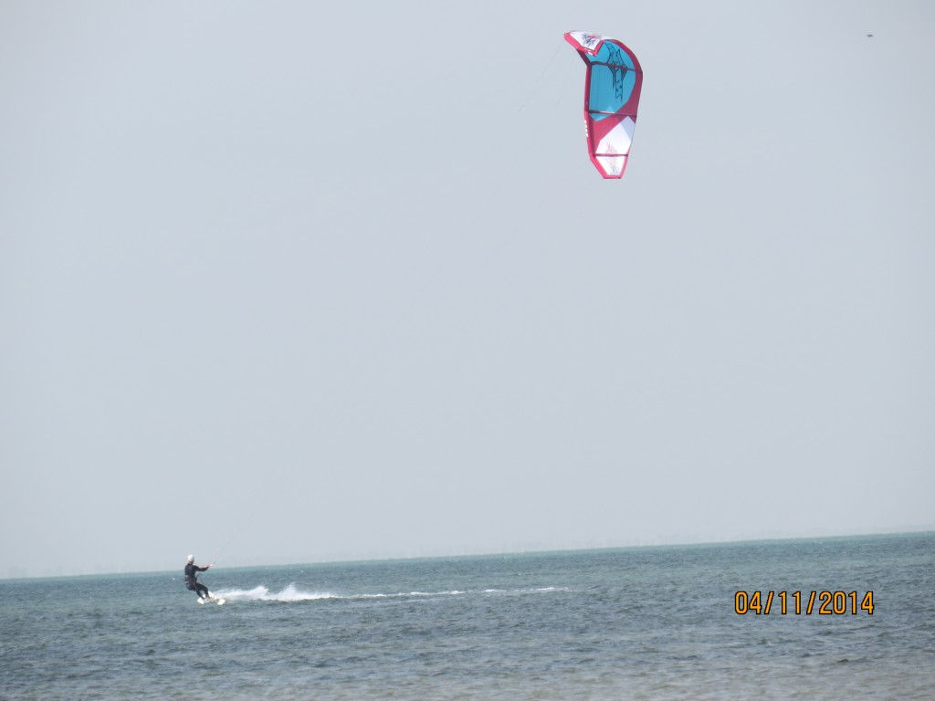 Skipping across the bay with my kite in Texas