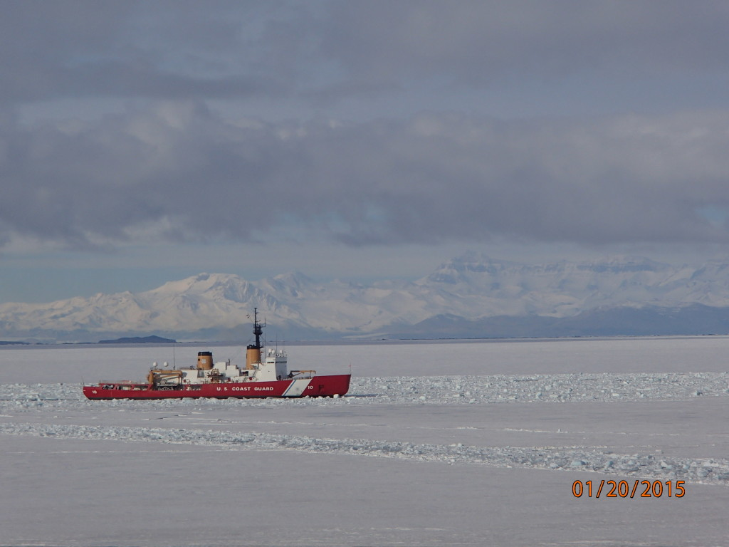 The Polar Star ice breaker keeping the channel open in the Ross Sea