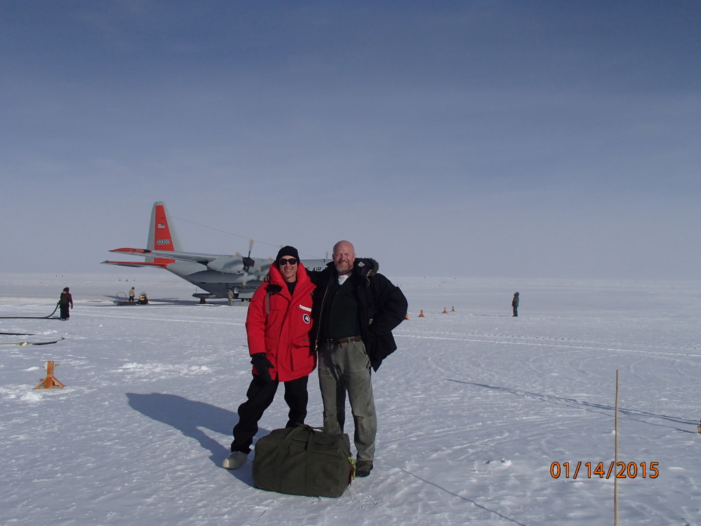 My Denver hiking buddy Mike helps me to the plane departing the South Pole
