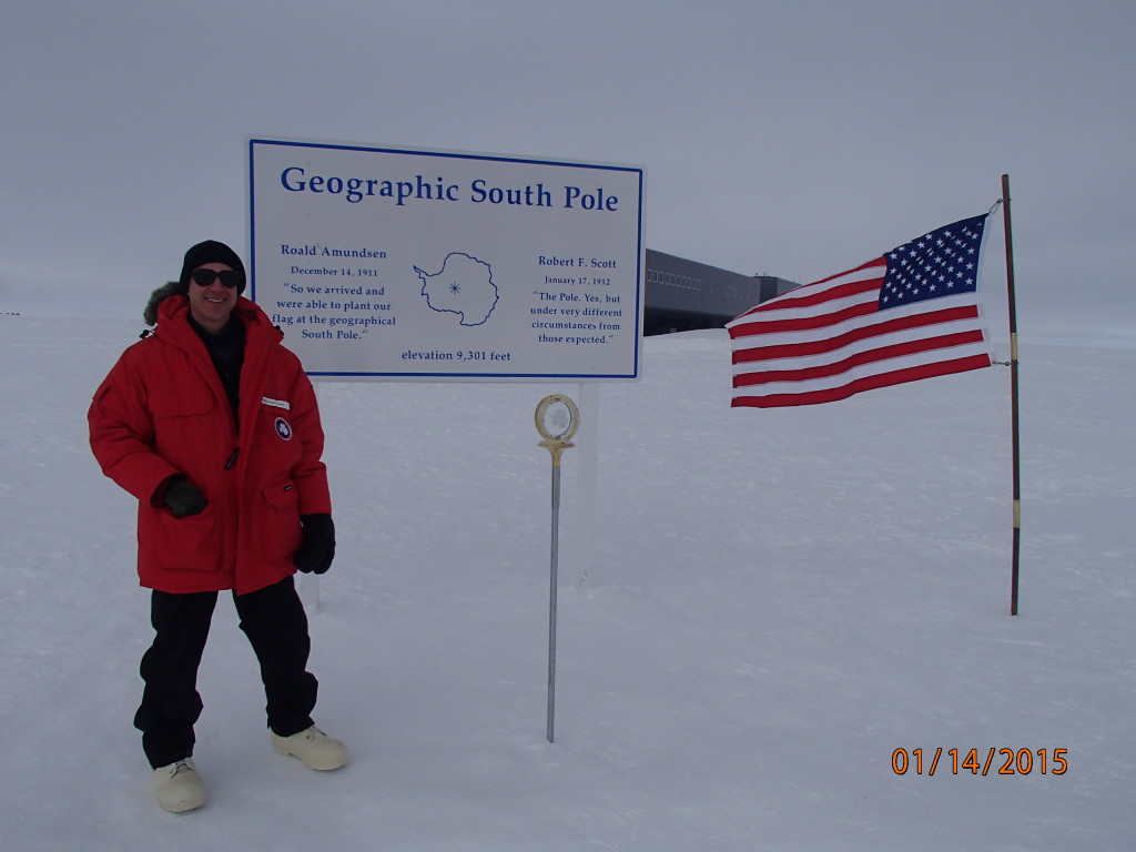 Antarctica 2015 South Pole marker
