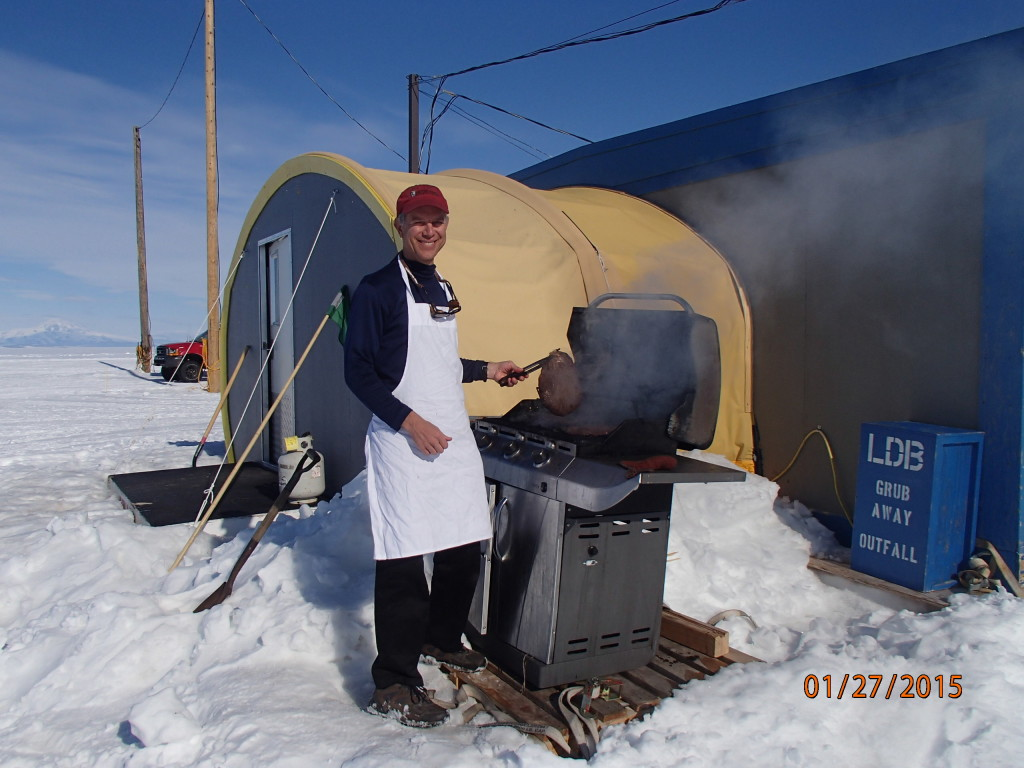 Grilling flank steak on the glacier at LDB