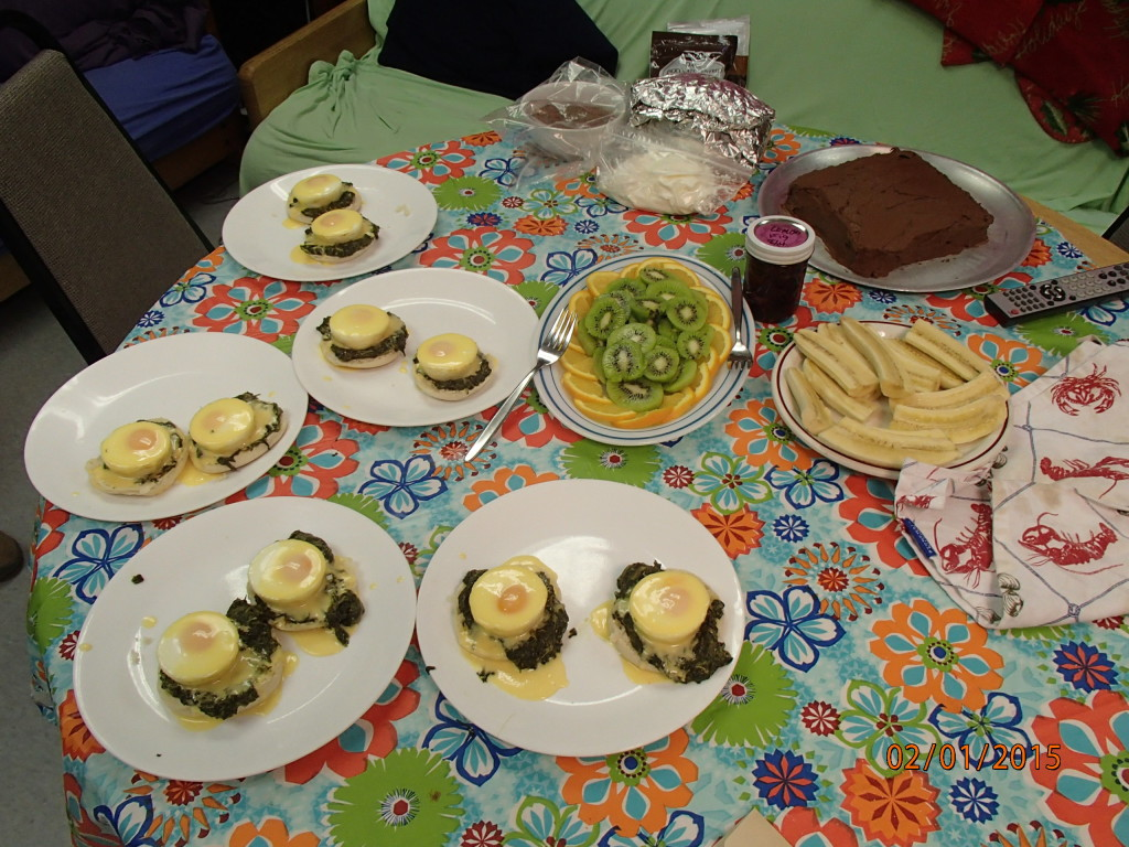Eggs Florentine and fruit for the medical crew