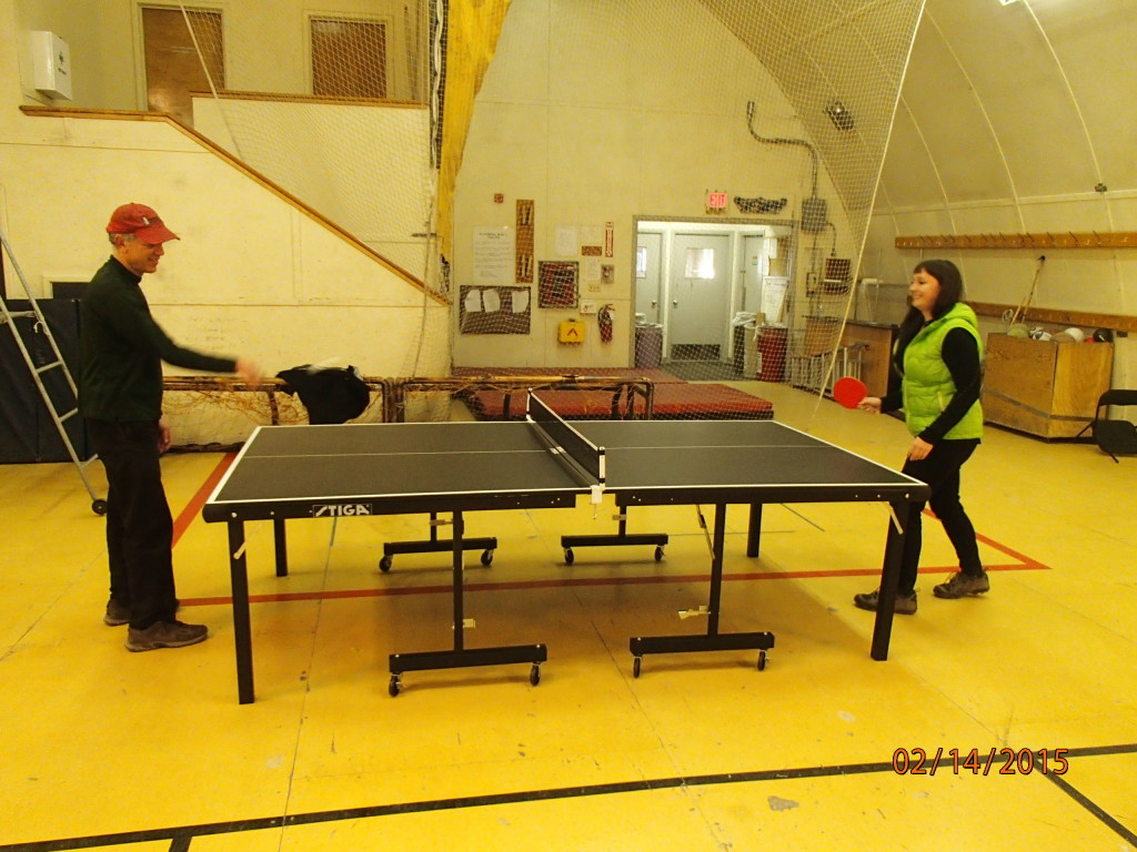 Reed, the winter PA and I test out the new table in the gym