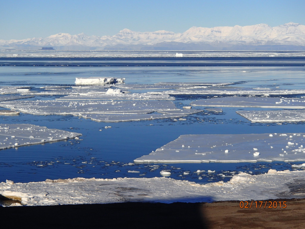The ice was melting on the Ross sea with the mainland across the open ocean