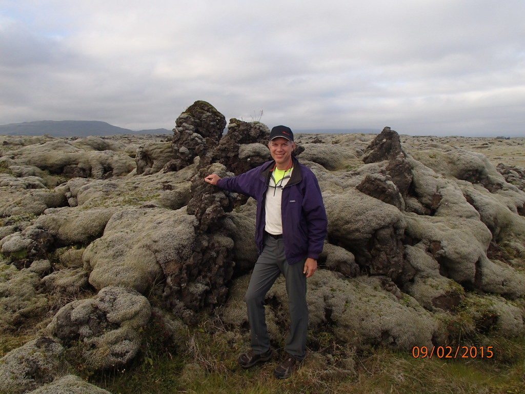 Standing by 6 inch thick moss covered lava from the 1783 eruption  that covered over 500 square kilometers