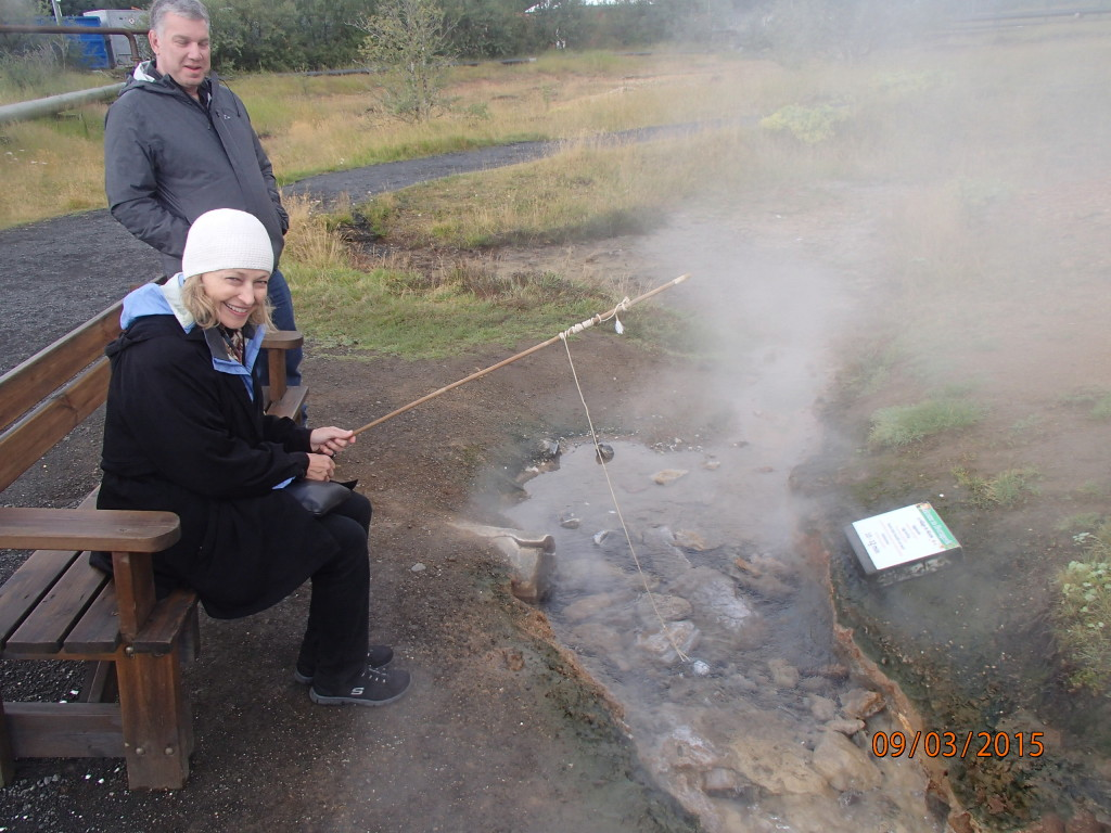 Boiling an egg for a snack at the geothermal park