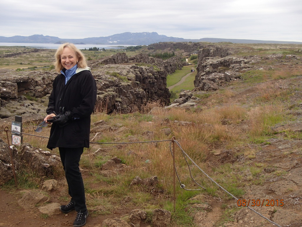 Pat at Pingvellir National Park, where the Earth's tectonic plates  are pulling away from each other about 9mm a year