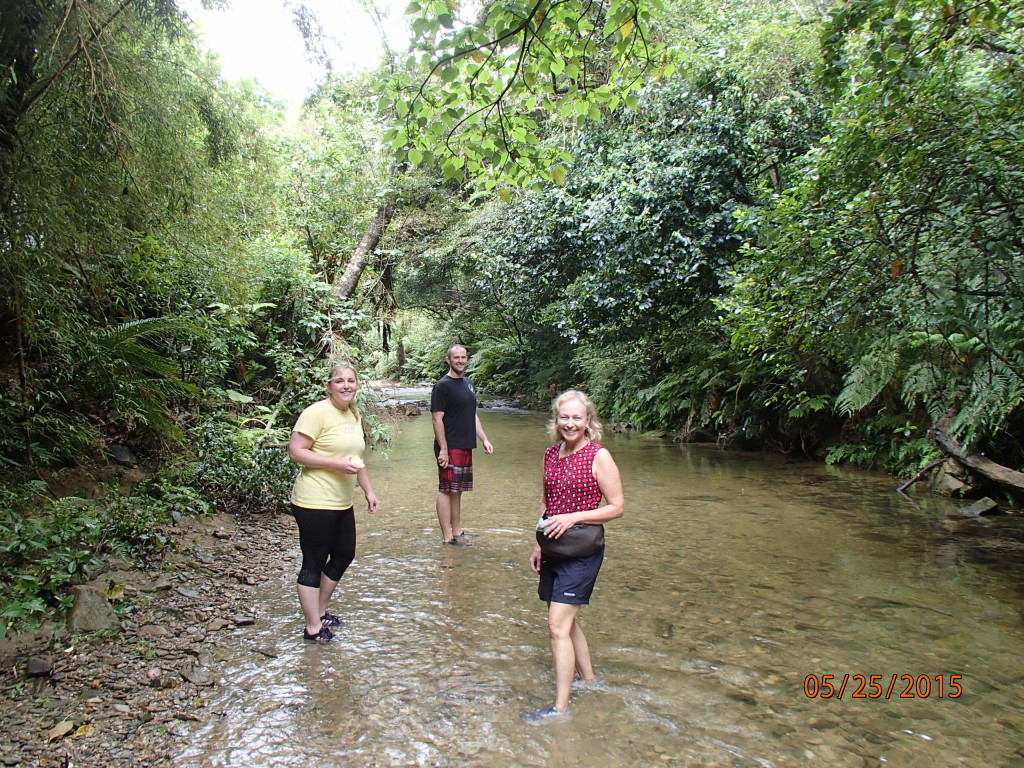 Hiking up a stream to a waterfall with Randi and Aaron in Okinawa