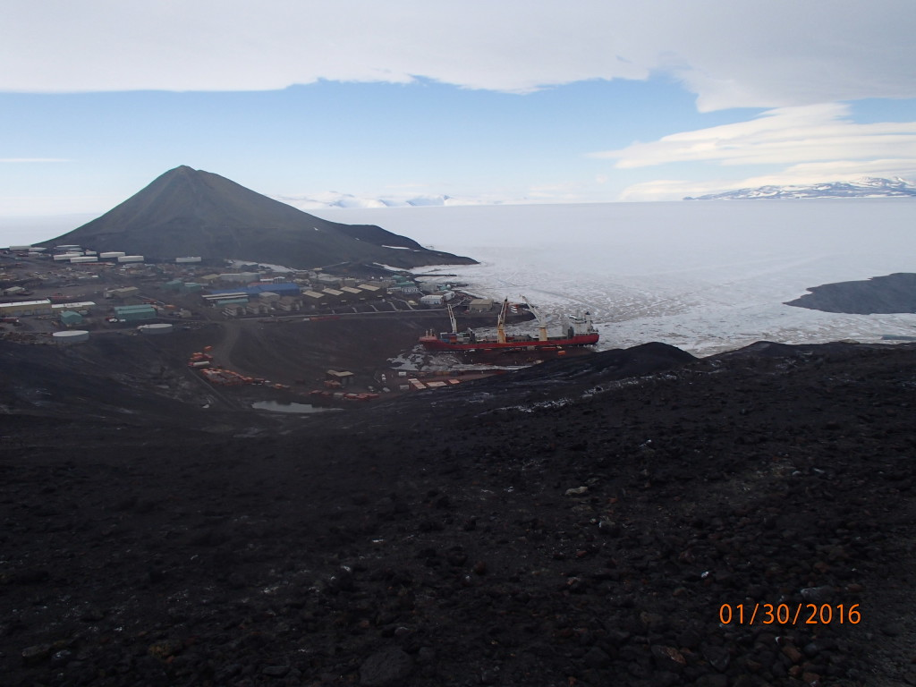 Bird's eye view of the cargo ship docked at McMurdo
