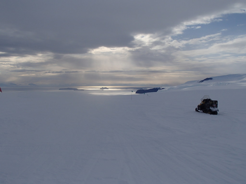 Long view of glaciers and the frozen ocean