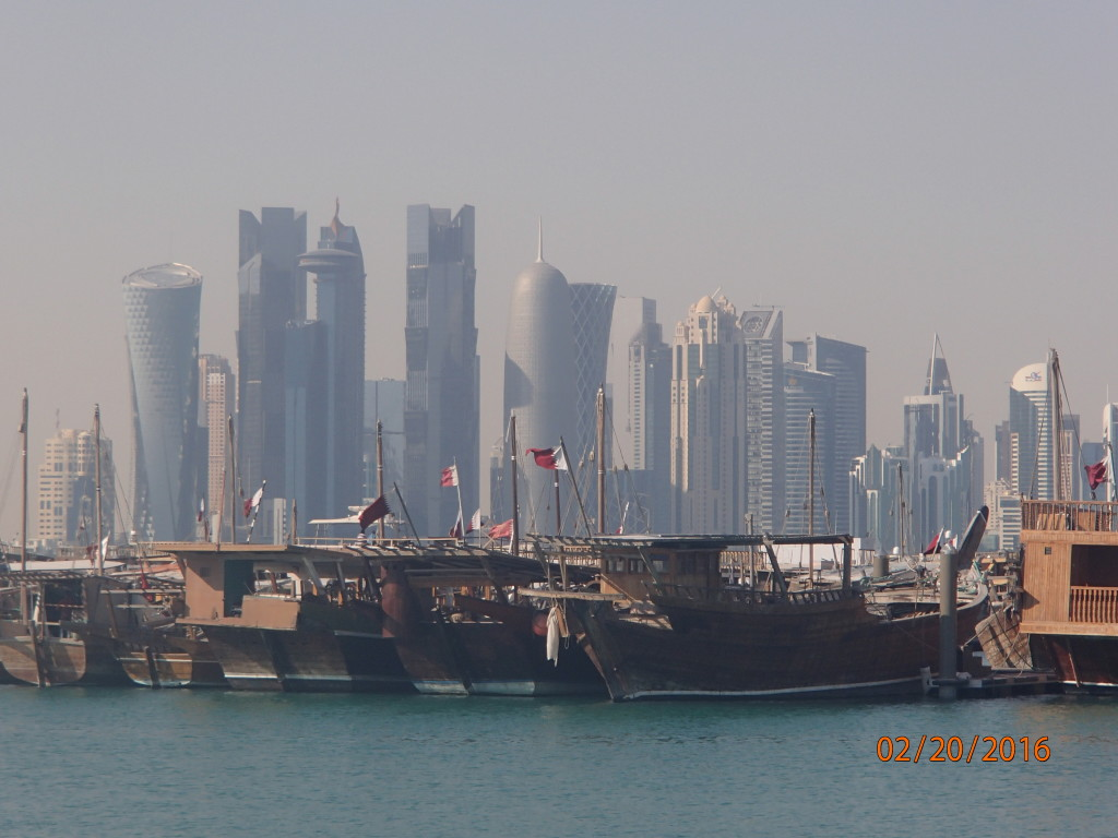 Boats and skyscrapers in Doha, Qatar