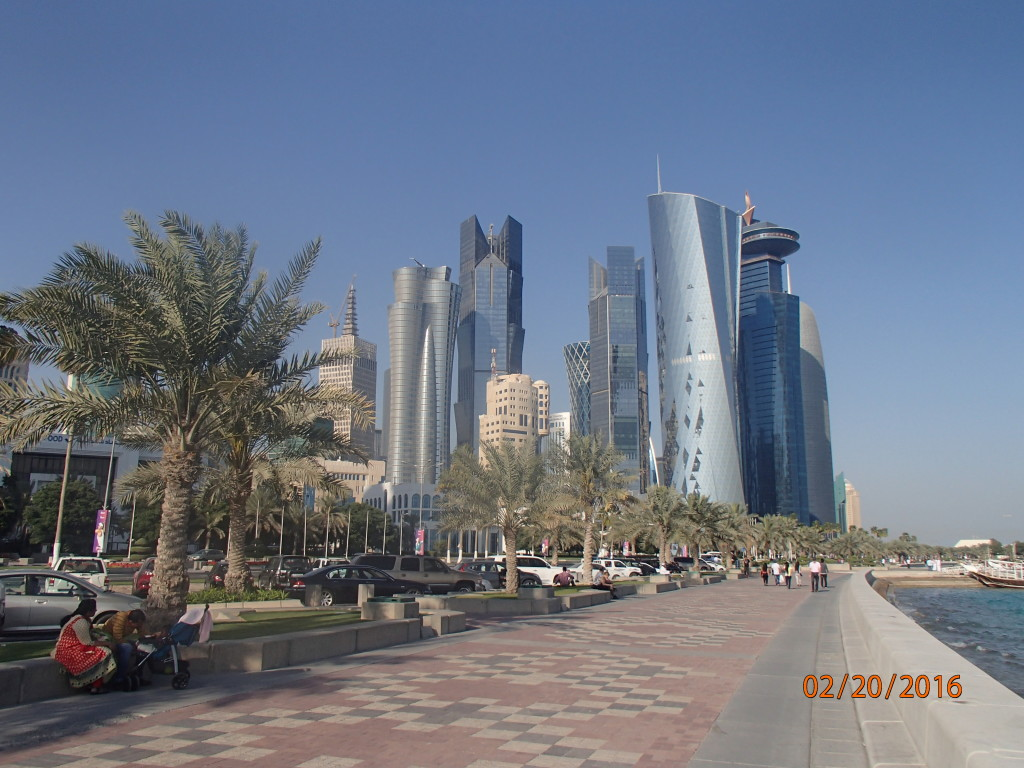 Buildings along the Corniche in Doha, Qatar