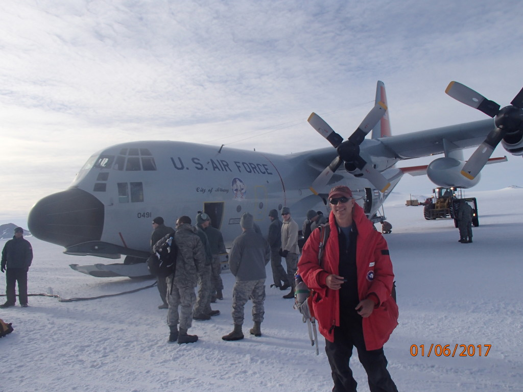 Landed on the ice shelf in an L- C-130 Cargo plane