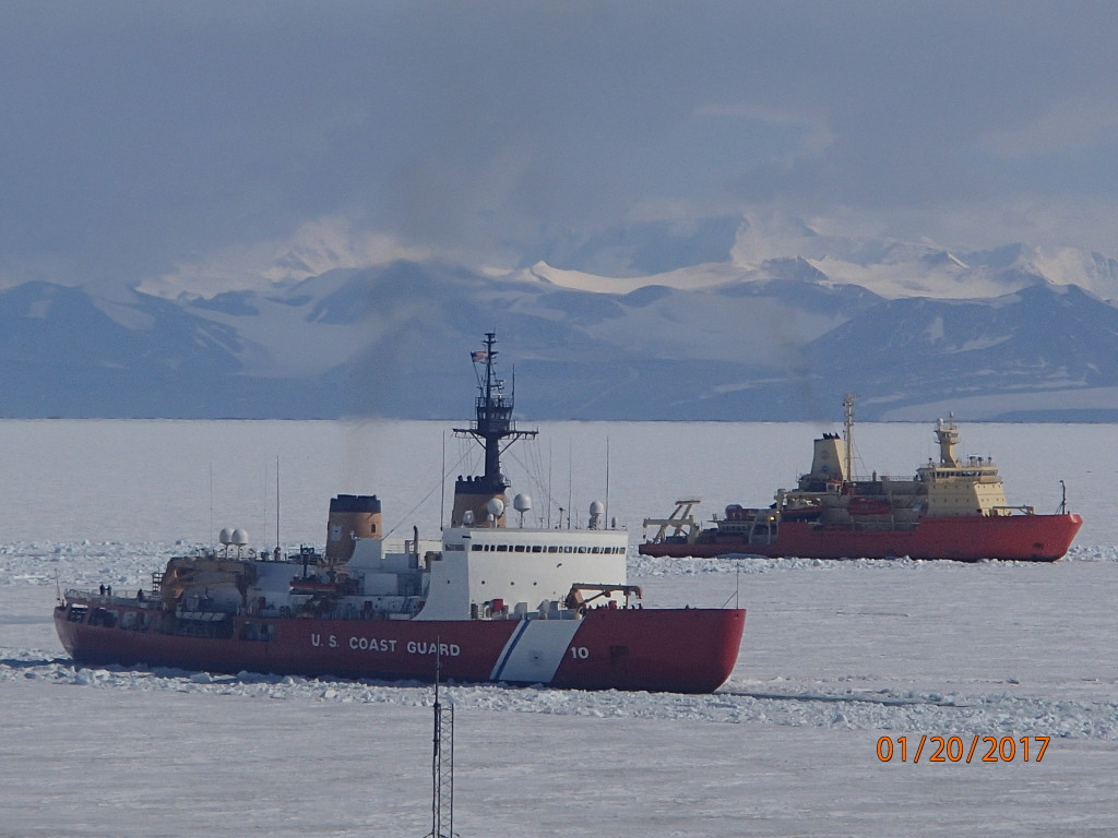 Polar Star icebreaker and Palmer research vessel make a visit