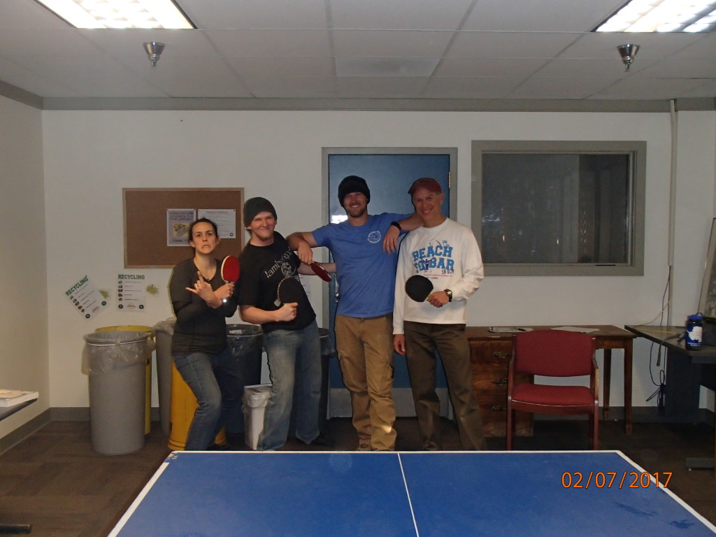 Finishing up ping pong with friends