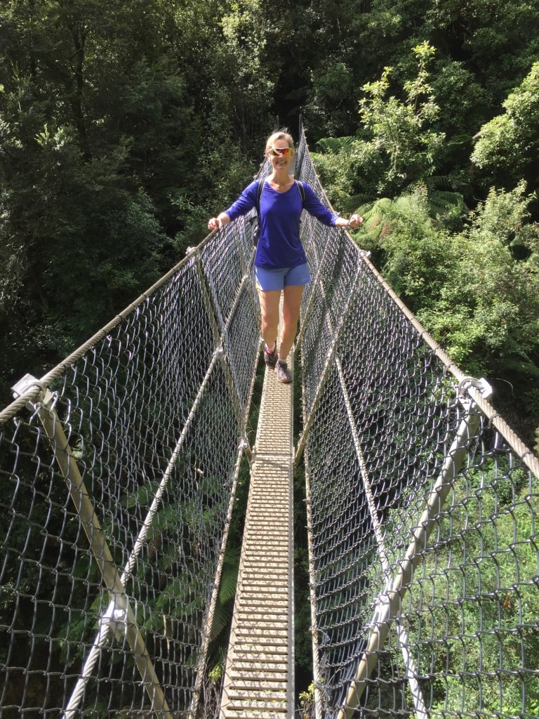 A true one lane suspension bridge on a scenic hike